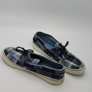 Sperry top sider plaid shoes woman size 10